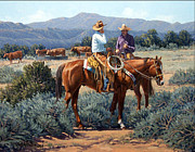 Cattle Posters - Two Cowboys Poster by Randy Follis