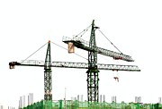 Machinery Photo Posters - Two Cranes on a Construction Site Poster by Yali Shi