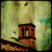 Steeples Framed Prints - Two Crosses Two Crows Framed Print by Gothicolors And Crows