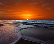 Waters Edge Posters - Two Crossing Waves At Sunrise Poster by Luis Argerich