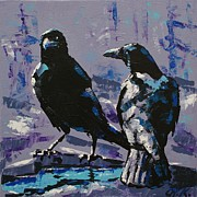 Christine Karron Metal Prints - Two Crows Metal Print by Christine Karron