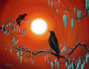 Laura Iverson - Two Crows on Mossy Branches