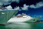 Antigua Prints - Two Cruise Ships Docked At A Caribbean Print by Todd Gipstein