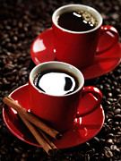 Coffee Beans Photos - Two Cups of Coffe on Coffee Beans by Oleksiy Maksymenko