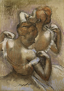Ballerina Pastels Prints - Two Dancers Adjusting their Shoulder Straps Print by Edgar Degas