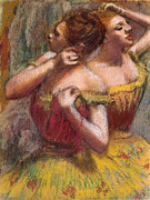 Performers Pastels Framed Prints - Two Dancers Framed Print by Edgar Degas