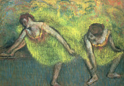 Tutu Painting Posters - Two Dancers Relaxing Poster by Edgar Degas