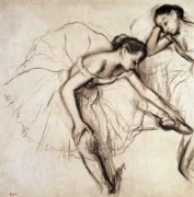 Female Drawings - Two Dancers Resting by Edgar Degas