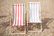 Deck Prints - Two Deck-chairs At Beach Print by Micha Schwing