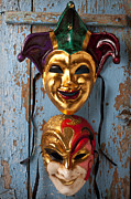 Theater Masks Posters - Two decortive masks Poster by Garry Gay
