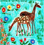 Sue Burgess Ceramics Posters - Two deer Poster by Sushila Burgess