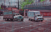 Truck Pastels Prints - Two Delivery Trucks Print by Donald Maier