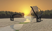 Togetherness Digital Art Prints - Two Diplodocus Dinosaurs Come Print by Corey Ford