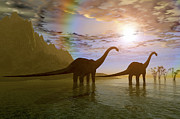 Roaming Digital Art Posters - Two Diplodocus Dinosaurs Wade Poster by Corey Ford
