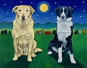Art For Children Framed Prints - Two Dog Night Framed Print by Stacey Neumiller