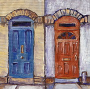 Sidewalk Paintings - Two Doors by Sandy Tracey