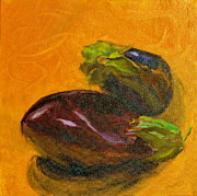 Italian Meal Painting Prints - Two Eggplants Print by Beverley Harper Tinsley