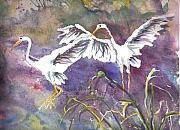 Egrets Paintings - Two Egrets by Casey Shannon