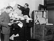 Paperwork Prints - Two Employees Of The Federal Radio Print by Everett