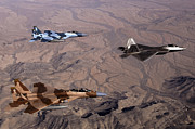 F-15 Prints - Two F-15 Agressor Eagles Fly Print by Stocktrek Images