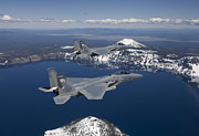Crater Lake View Prints - Two F-15 Eagles Fly Over Crater Lake Print by HIGH-G Productions
