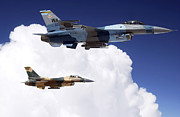 F-16 Aggressor Prints - Two F-16 Fighting Falcons In Flight Print by Stocktrek Images