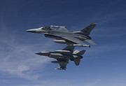 Two By Two Framed Prints - Two F-16s Manuever On An Air-to-air Framed Print by HIGH-G Productions