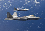 Jetfighter Posters - Two F-22 Raptors Fly In Formaton Poster by HIGH-G Productions