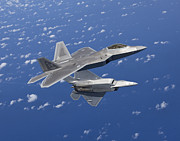 Close To People Posters - Two F-22 Raptors Maneuver While Flying Poster by HIGH-G Productions