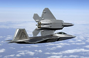 Fighter Aircraft Prints - Two F-22a Raptors In Flight Print by Stocktrek Images