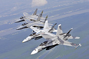 Mid-air Prints - Two Fa-18 Hornets And Two F-15 Strike Print by Stocktrek Images