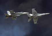 F-18 Prints - Two Fa-18c Hornets Perform A Carrier Print by Stocktrek Images