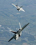 Flight Formation Photos - Two Fa-22 Raptor Aircraft Prepare by Stocktrek Images