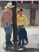 Two Pastels - Two Fellows Chatting by Jo Ann Sullivan