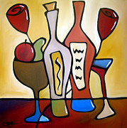 Colorful Abstract Drawings - Two-fer - Abstract Wine Art by Fidostudio by Tom Fedro - Fidostudio