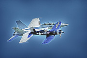Airplanes Prints - Two Fighters 01 Print by Ross Powell