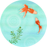 Two Fish Digital Art - Two Fish In A Pond by Yuri Horikawa
