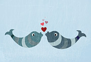 Animal Themes Digital Art Prints - Two Fish Kissing Print by Jutta Kuss