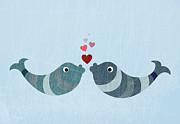 Two Fish Kissing Print by Jutta Kuss