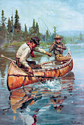 Fishing Painting Posters - Two Fishermen In Canoe Poster by Phillip R Goodwin