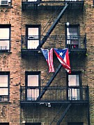 Puerto Rican Posters - Two Flags in Washington Heights Poster by Sarah Loft