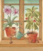 Flower Drawings Prints - Two Flowerpots Print by Kestutis Kasparavicius
