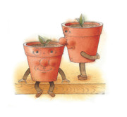 Flower Garden Drawings Prints - Two Flowerpots02 Print by Kestutis Kasparavicius