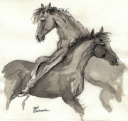 Horses Drawings - Two Foals Playing by Angel  Tarantella