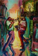 Playing Music Painting Originals - Two For Jazz by Saundra Bolen Samuel