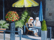 Brasserie Paintings - Two For Lunch by Robert Rohrich