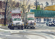 Delivery Truck Paintings - Two Fords by Donald Maier