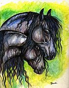 Horses Drawings Metal Prints - Two Fresian Horses Metal Print by Angel  Tarantella