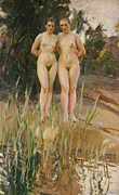 Unclothed Paintings - Two Friends  by Anders Leonard Zorn