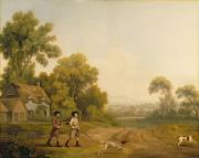 Spaniels Paintings - Two Gentlemen Going a Shooting by George Stubbs